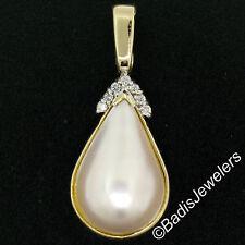 14K Yellow Gold Large Pear Tear Drop Mabe Pearl Enhancer .22ctw Diamond Pendant