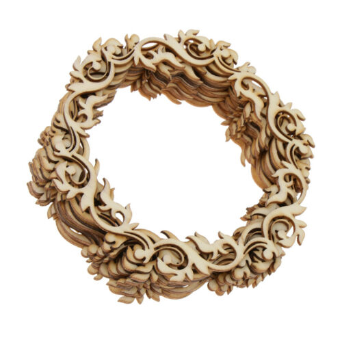 24pcs Round Flower Wreath Wooden Craft Hanging Gift Tags Decoration