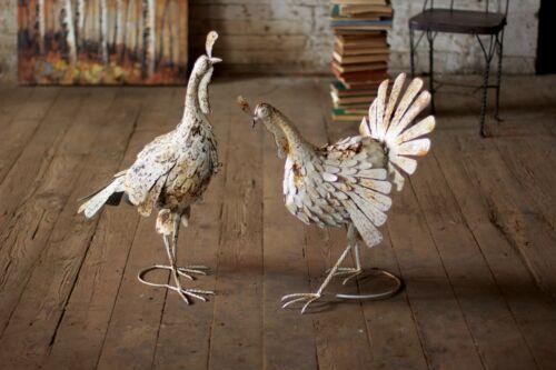 Farmhouse Turkeys French Country Antique White Metal Fall Holiday Decor Set//2