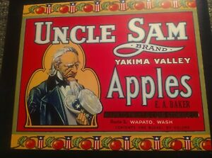 Vintage Original UNCLE SAM APPLE CRATE BOX Citrus Labels NOS Red Unused