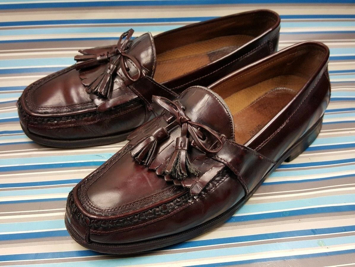 Johnston & Murphy Tassel Loafers Burgundy Leather Men's shoes 9.5 M