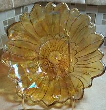 Vintage Iridescent Amber Marigold Carnival Glass Daisy Flower Candy Bowl Dish