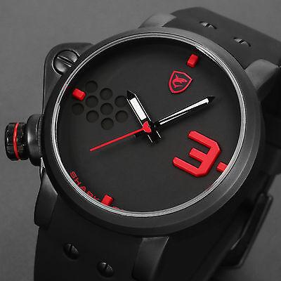 Salmon Shark Fashion Mens Silicone Quartz Military Sport Black Red Wrist Watch