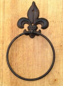 Cast Iron Fleur Dis Lis Towel Ring Holder Rustic French New Orleans