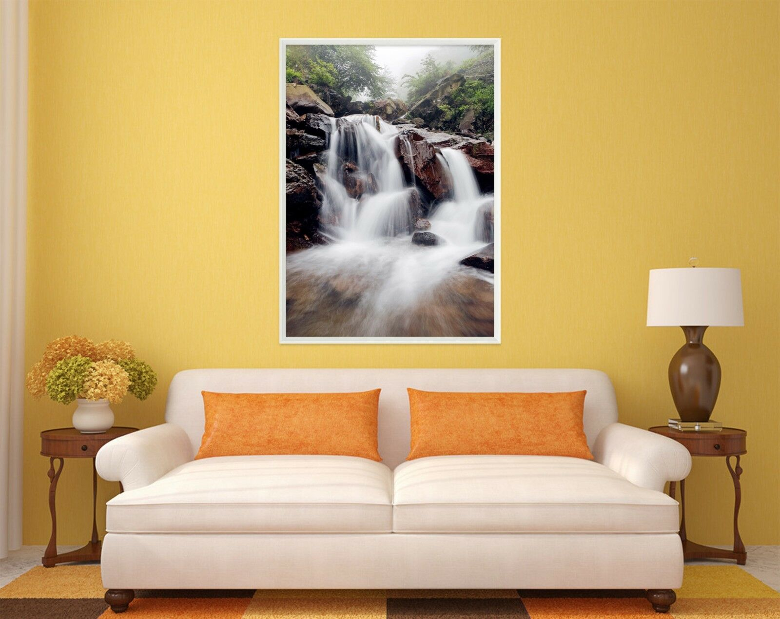 3D Waterfall Stone 55 Fake Framed Poster Home Decor Print Painting Unique Art