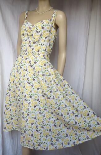 Dress in 40 lino giallo Holiday verde floreale Abito Laura Ashley verde Wedding Summer 42 RwEUUgq