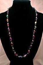 LADIES 20 INCH MAGNETIC NECKLACE: Rainbow Hematite & Black Beads; Helps Pain!