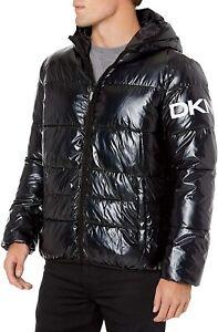 DKNY Mens Water Resistant Ultra Loft Hooded Logo Puffer Jacket Coat