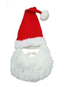 Men's Santa Beard Costume Hat Trapper Beanie Stocking Cap