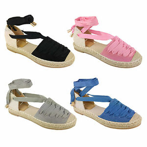 WOMEN-LADIES-FLAT-LOW-HEEL-ESPADRILLES-LACE-TIE-UP-CANVAS-SUMMER-SANDALS-SHOES