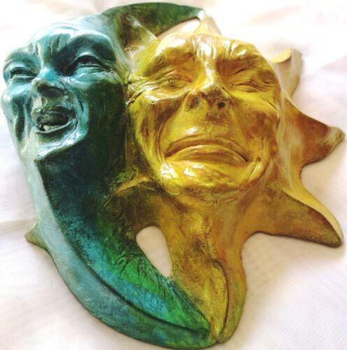 "Handmade Cast Stone Original by Claybraven 8/"" Wall Sculpture Sun /& Moon Faces"