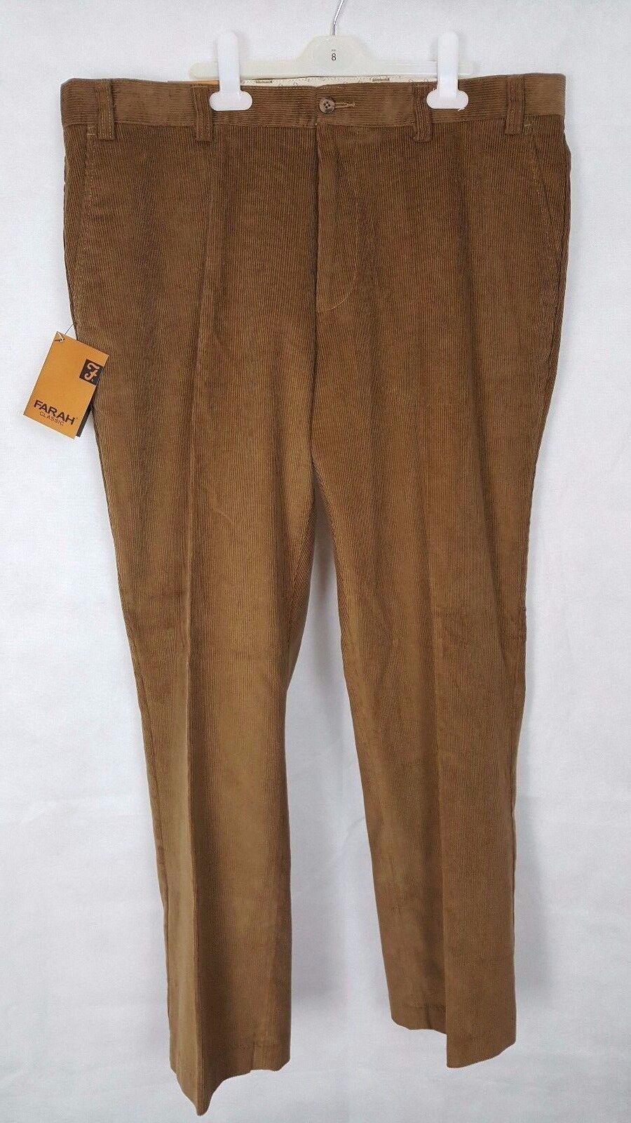 Q146 Mens Farrar Classic Tan Brown Traditional Fit Wale Cord Pants, W40 L29