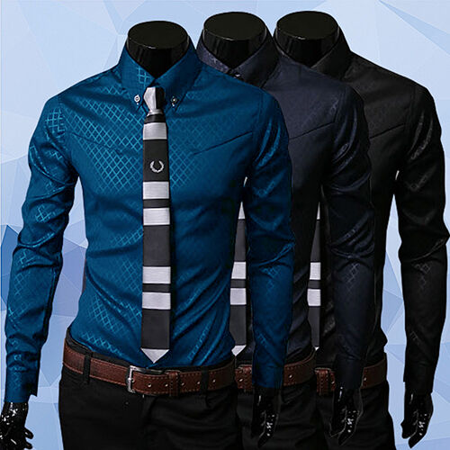 Luxury Men's Argyle Slim Fit Long Sleeve Cotton Blend Spring Summer Dress Shirt Casual Button-Down Shirts