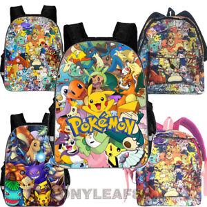 be5eeb62ed4a Details about Kids Boys Girls Pokemon Pikachu Eevee Printed Shoulder School  Backpack Bag 16''