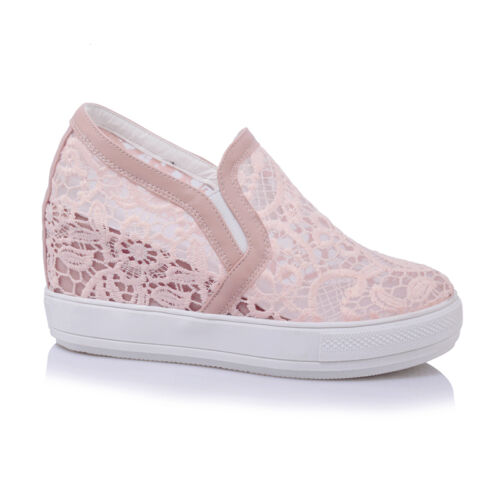 Sz34-45 Womens Lace Breathable hollow out hidden wedge Platform Casual Shoes New
