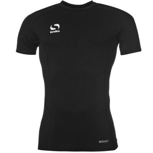Herren Sondico Schwarz Fußball Unterlage Kompression Training Top T-Shirt