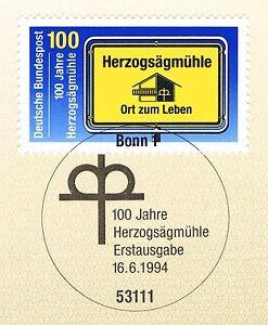 Rfa 1994: Herzogsägmühle Nº 1740 Avec Propre Bonner Ersttags Cachet Spécial! 1 A!-stempel! 1a!fr-fr Afficher Le Titre D'origine Cool En éTé Et Chaud En Hiver