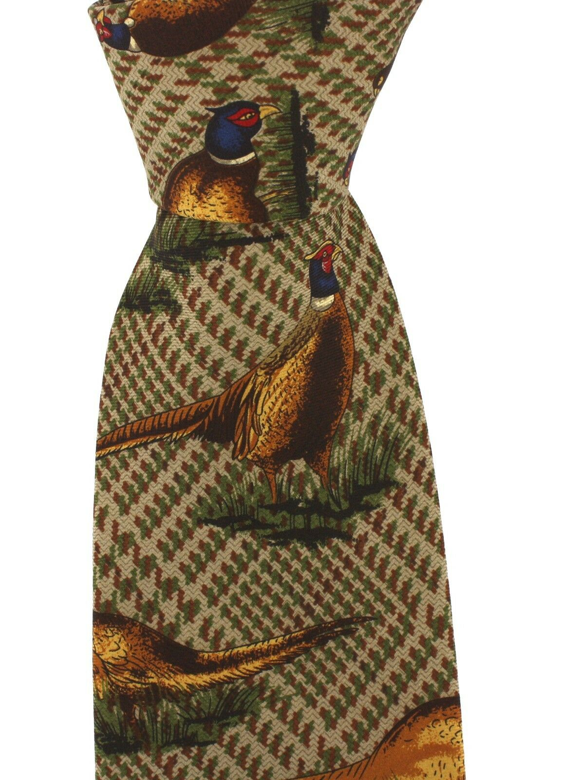 Luxury Brown Tweed Silk Tie with Standing Pheasants game day shooting shotgun