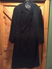 Mens MAITLAND OF ENGLAND Pure Wool Long Overcoat Coat Dark Gray Sz 44L