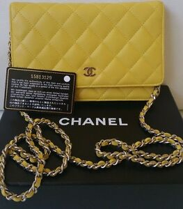 0df46a70b794 Image is loading Chanel-WOC-Yellow-Quilted-Lambskin-Flap-Bag-Wallet-