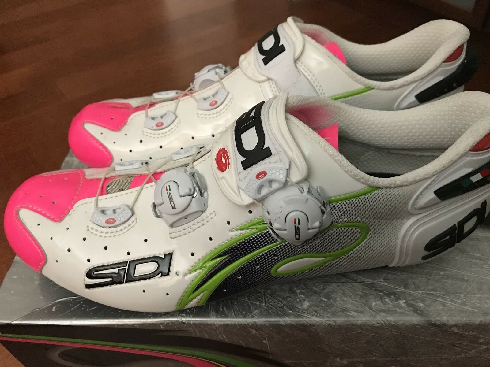 Rare Sidi Wire Carbon Lampre Vernice Size 44 US10  Cycling shoes White Pink  best offer