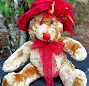 Dan-Dee-Collectors-Choice-Teddy-Bear-Red-Hat-VERY-SOFT-Plush-Stuffed-Animal-Doll