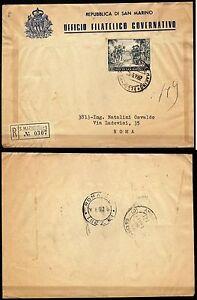 156 - San Marino - 80 lire Colombo su raccomandata per Roma, 29/06/1952 - Italia - 156 - San Marino - 80 lire Colombo su raccomandata per Roma, 29/06/1952 - Italia