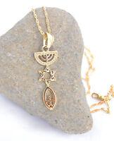 Necklace&pendant gold rhodium.Menorah / Star Of David / Fish. symbol Messianic