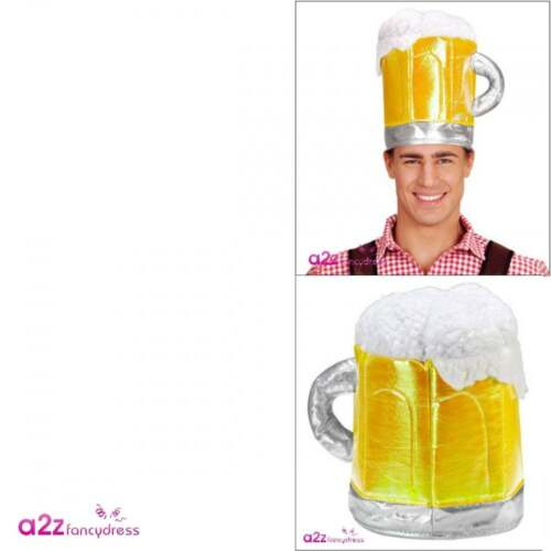 Beer Mug Adult Mens Alcohol Lager Oktoberfest Stag Night Fancy Dress Costume Hat