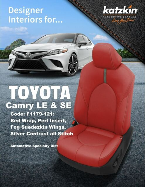 KATZKIN RED LEATHER INT SEAT COVERS FIT USA MODEL 2018 2019 TOYOTA CAMRY LE SE
