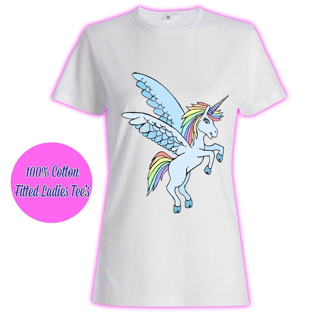 Womans Ladies Filles Tumblr Licorne Rainbows Rose Paillettes Princesse Stars T Shirt