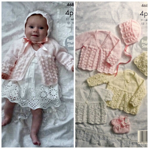 Bonnet /& Hat 4ply 4687 Bootees KNITTING PATTERN Baby Matinee Jackets