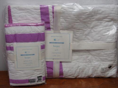 NWT Pottery Barn Kids//Baby Harper Nursery Bedding Quilt /& Sham ~Lilac~