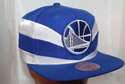 Mitchell /& Ness Golden State Warriors Satin Slash Blue HWC SNAP snapback CAP Hat