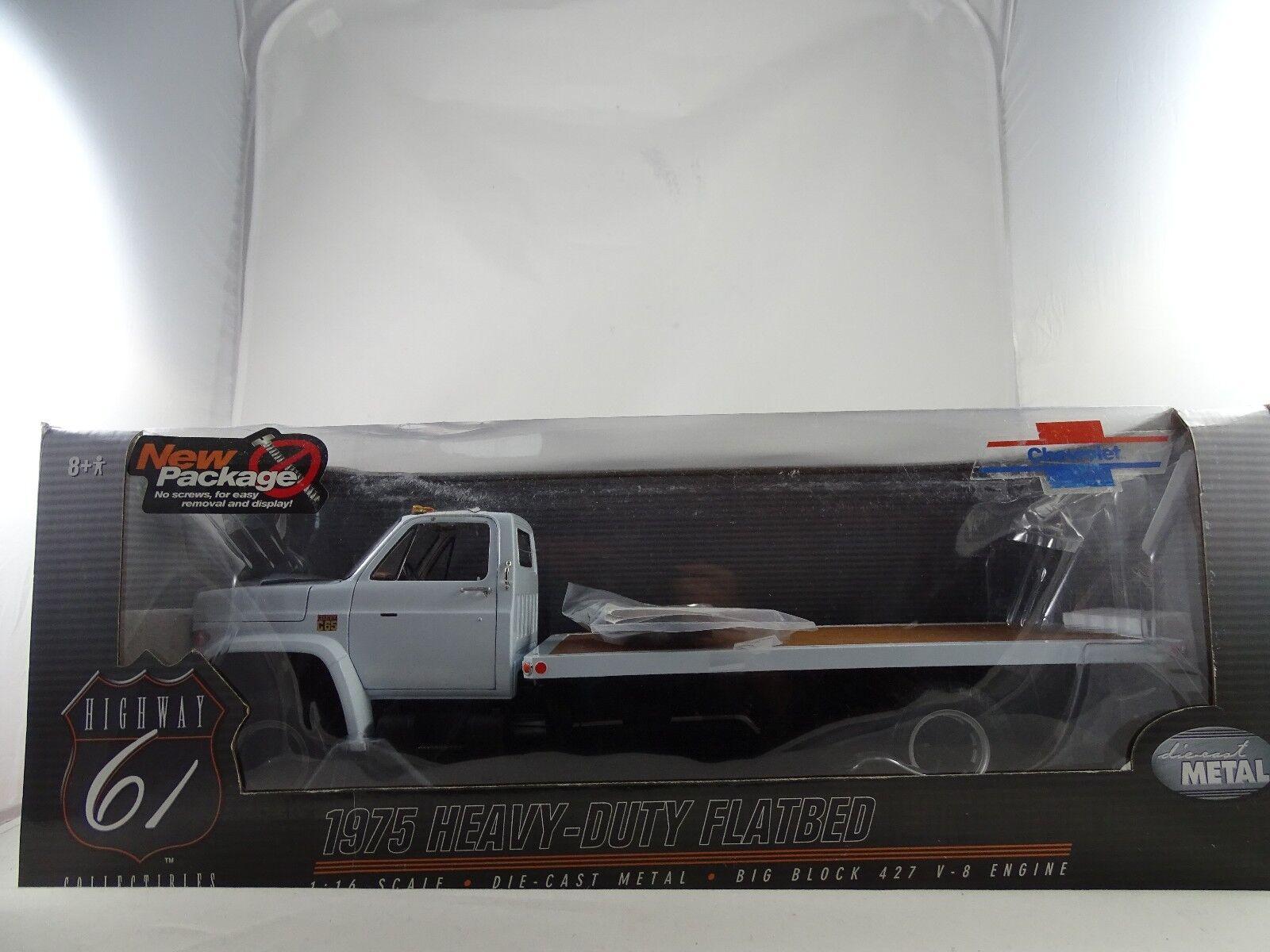 1 16 Highway 61 - 1975 Chevrolet C65 Heavy-Duty à Plat Blancheur Rare Neuf
