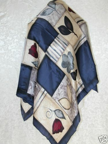New 100/% Charmeuse Silk Scarf Beige Navy Blue Red Rose