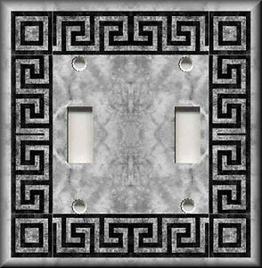Light switch plate cover greek key grey bathroom for House key cover with light