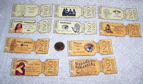 Halloween~Vintage~Fortune Teller~Gypsy~Palmistry~Psychic~Linen Cardstock~Tickets