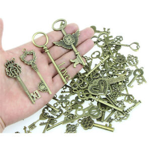 100X-Mix-Look-Skeleton-Key-DIY-Necklace-Key-Chain-Metal-Jewelry-Making-Pendant