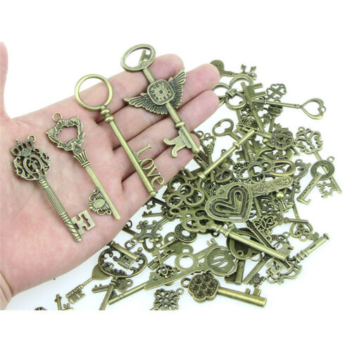 100X Mix Look Skeleton Key Necklaces Key Chain Metals Jewelry Making Pendant Pip