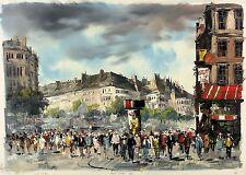 ANATOL BOUCHET Signed Vintage MidCentury 1960s Original Oil Painting PARISIAN ST