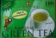 100 Teabags Ceylon Tea Club Pure Green Tea  Bags 100 Staple-Free Bags per Box