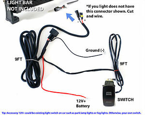 40A Fog Work LED Light Bar Wiring Harness Relay Fuse Kit + Rocker ...
