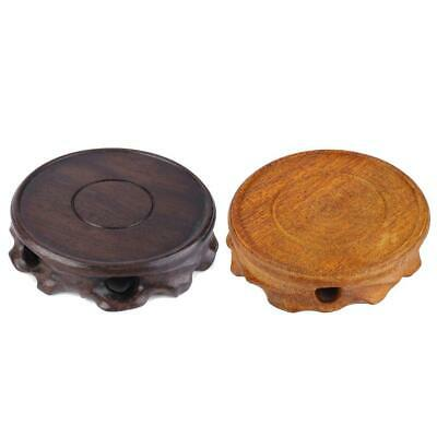 Rotate Chinese Wood Display Stand Pedestal Carving Round Base Statue Home Decor