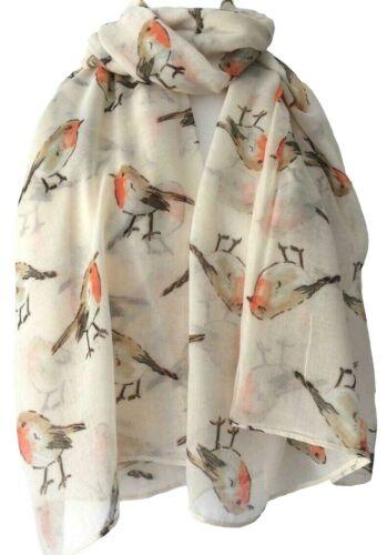 Robin Scarf Ladies Cream Birds Wrap Red Robins Shawl National Bird