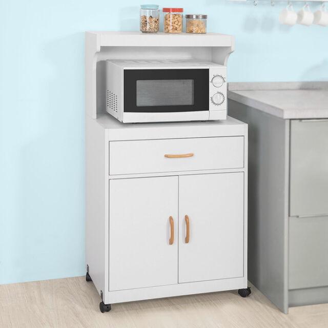 Sobuy White Wood Kitchen Microwave Storage Cupboard Sideboard Shelf Fsb12 W Uk