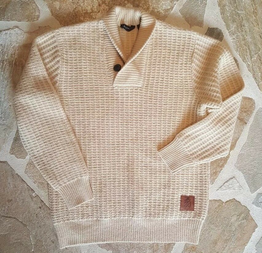 SEAN JOHN Beige Button Shawl Collar Sweater XXL 2XL NEW