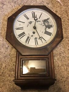 Antique Waterbury Octagonal Wall Clock Parts/Repair! Nice Project!