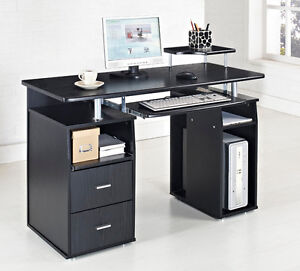 Black Computer Desk Home Office Table PC Furniture Work Station