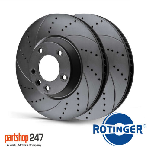 For BMW 5 Series E60 530 03 Rear Rotinger Drilled Grooved Brake Discs 320mm